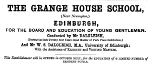 Grange House School opening announcement, 1857