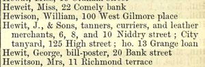1873: Janet Hewit and her sons owned various business premises as well as rental properties.