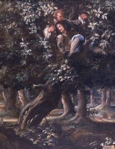 Charles II and William Carlos in oak tree