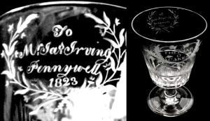 glass goblet engraved irving
