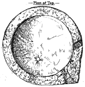 Sketch of basin dug up in 1887 at the Penny Well site.