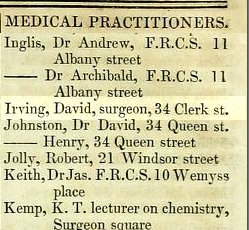 David Irving in an 1834 street directory.