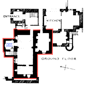 The 16th century structure is outlined in red within a ground floor plan of the Victorian mansion. The original entrance is labelled in blue.