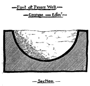 Section drawing of stone basin dug up in 1887. A sideways perspective giving an idea of shape and proportions. The whole thing was two and a half feet across. (76 cms.)
