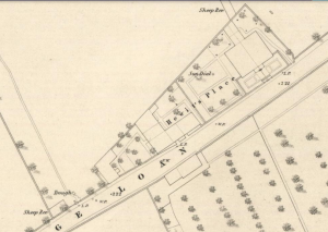 "The 1853 map shows the new pair of villas, the subdivisions of the old building, and garden layout at ""Hewit's Place""."