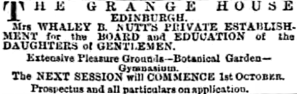 Advertising the education on offer at Grange House, 1890.