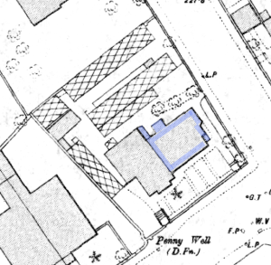 Glass houses and frames in the Mackenzies' garden, shown by cross-hatching. From 1893 map after JM's death when his son was running the business. Their original cottage is colourd blue. They rented out the later house next door.