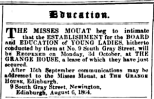 Grange House School for girld, 1864