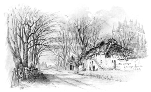Cottages in 1865 at entrance to Grange House