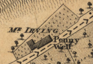 1817:The Irvings were living at Penny Well. From Kirkwood's map, reproduced by permission of the Naional Library of Scotland.