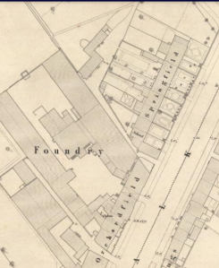 1851: Shotts foundry. new houses and gardens in Springfield and Orchardfield.OS map reproduced with permission from the Naional Library of Scotland.