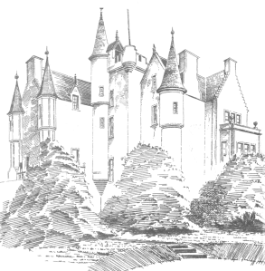 View from south-west in about 1890. Follow the battlements if you want to compare it with the 1825 drawing.